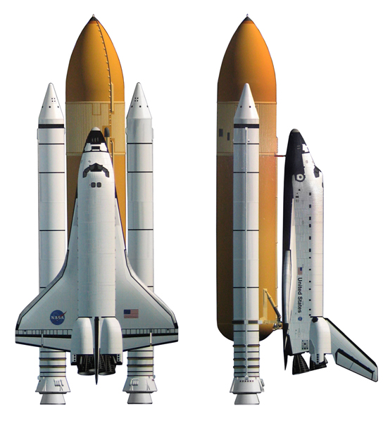 Рис. 1. Схема космического челнока (шаттла).  Вкратце напомню конструкцию шаттла (Рис.1.) 1: основой конструкции...