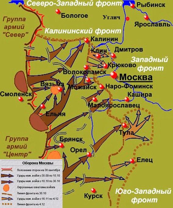 Схема обороны Москвы осенью